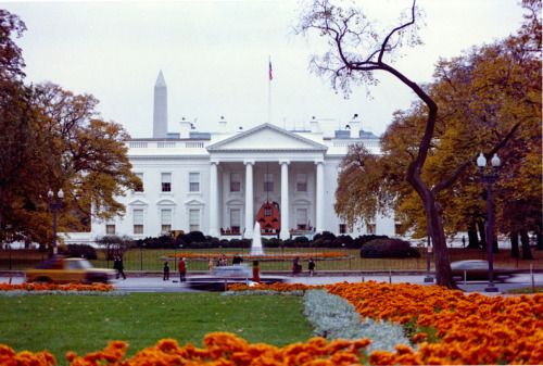 Have a great pre-Halloween weekend! The north front of White House decorated for Halloween with a giant pumpkin Jack O lantern at the door. Orange marigold flowers bloom in the foreground.  October, 1973. -from the Nixon Library