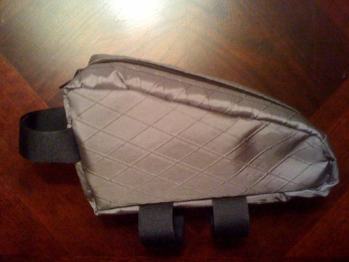 Prototype for a padded, top tube bag. Perfect for snacks, camera, phone, etc.