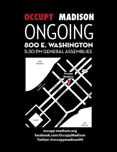 New location of #occupymadison = 800 E. Washington - that's the old Don Miller car lot.