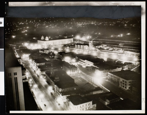 Los Angeles Union Station and the surrounding area at night, 1941
