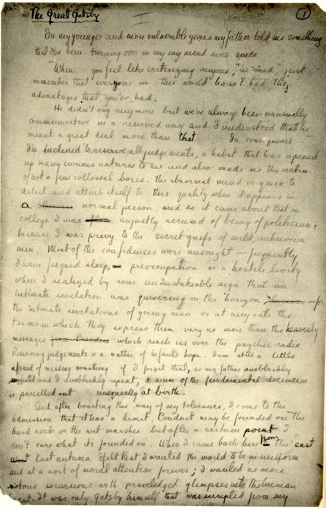 securelyonafairywing:   F. Scott Fitzgerald's handwritten manuscript of The Great Gatsby.
