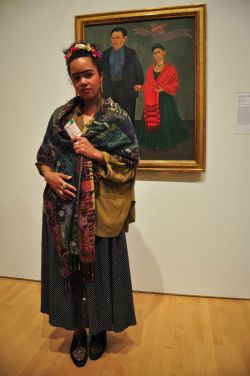 "Anna in front of Frida Kahlo's ""Frieda and Diego Rivera"" (via (8) SFMOMA: Now Playing COSTUME CONTEST)"