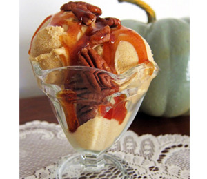 findvegan:  Silky Pumpkin Spice Ice Cream, Apple Cider Reduction