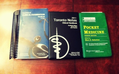 Three Handbooks. This year, I decided to invest in more portable references than the textbooks that are as thick as phone books. These pocket books are now a key part of my studying when time is of the essence. The three handbooks that I am using are: Toronto Notes, Essentials of Clinical Examination, and Pocket Medicine.