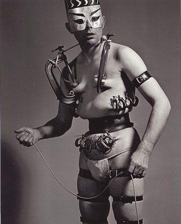 Fakir Musafar, C-Clamp Shaman, Self Portrait, 1964, Ed. 25, 20x16/ 14x11 Silver Gelatin Photograph, Exhibition: Spirit & Flesh, April 2002  (source: Fahey/ Klein Gallery)