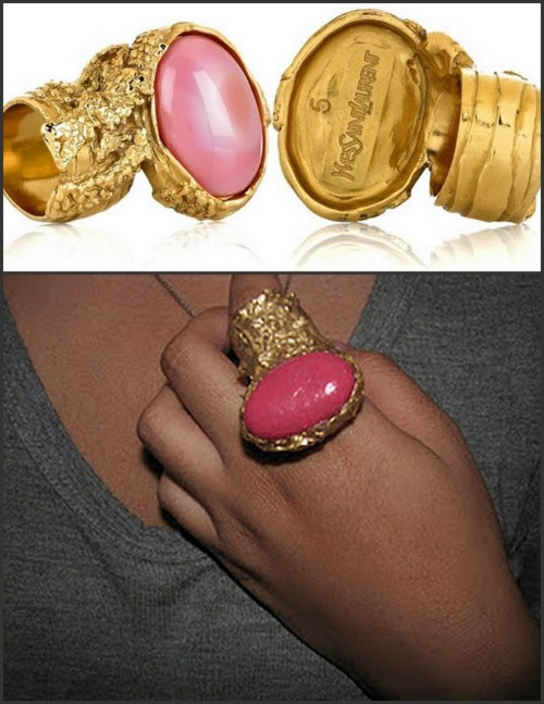 DIY Ring inspired by the YSL Arty Oval Ring (YSL Ring top $195-$275). The knockoff DIY was made with a huge pebble, glue gun, duct tape and nail polish. Tutorial at Squiggles & Scribbles here.