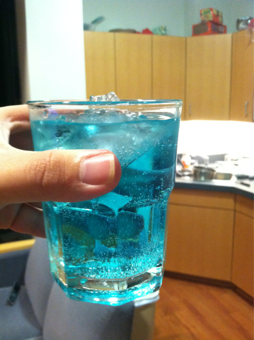 justicemuffins:  heycheckthisshitout:  The Derezzer. Blue Raspberry vodka Sprite Ice Sips sips sips. The Grid is calling you.  I don't even drink and I want this. :U MATT MATT WE SHOULD TRY THIS WHEN YOU GET BACK  This actually does look rather interesting.