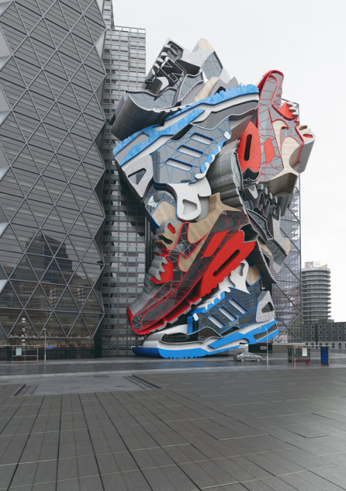Sneaker Tectonics Extruded Sneaker mash up rendered in glass, steel, concrete and wood.