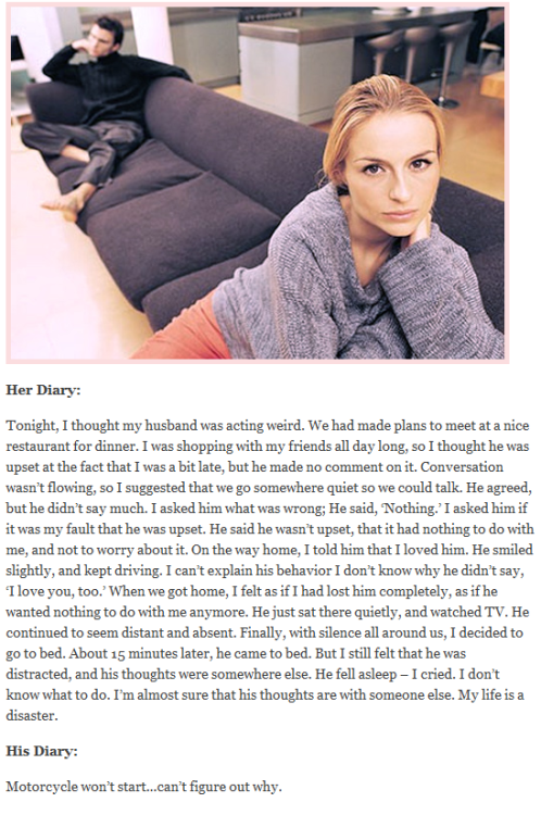 (via His & Her Diary From the Same Day : reddit funny) [classic stereotypes…but still kinda funny…]