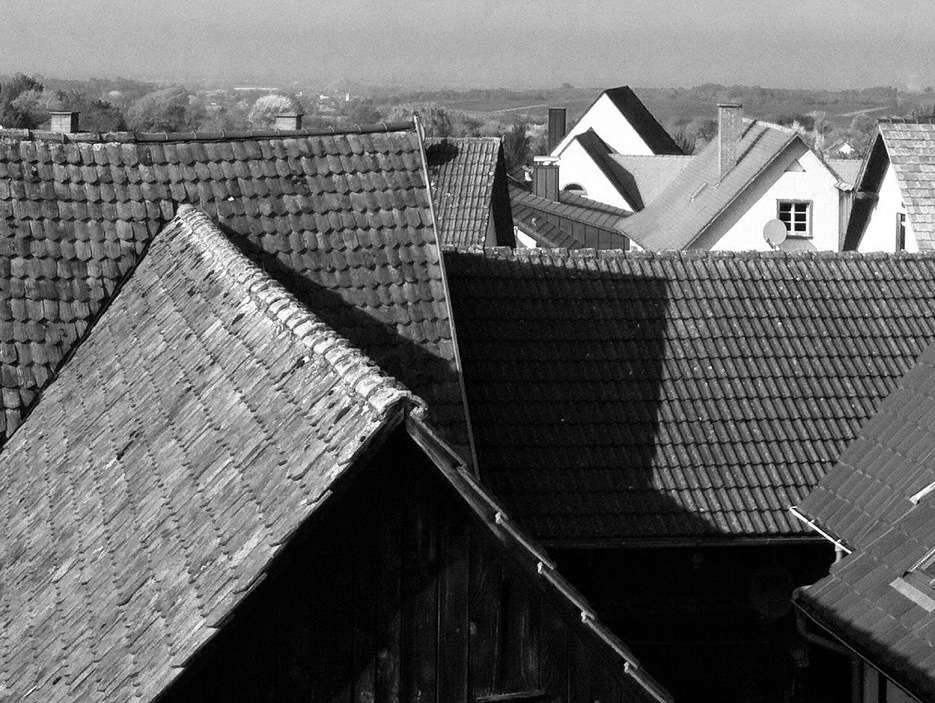 Rooftops, Britzingen.   Taken with Click!, black and white with Simply B&W.