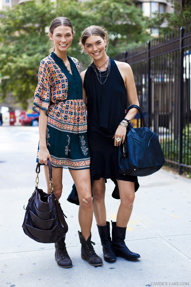 Karlie Kloss and Arizona Muse, NYFW, SS12. See more pics of Karlie and Arizona in Paris here