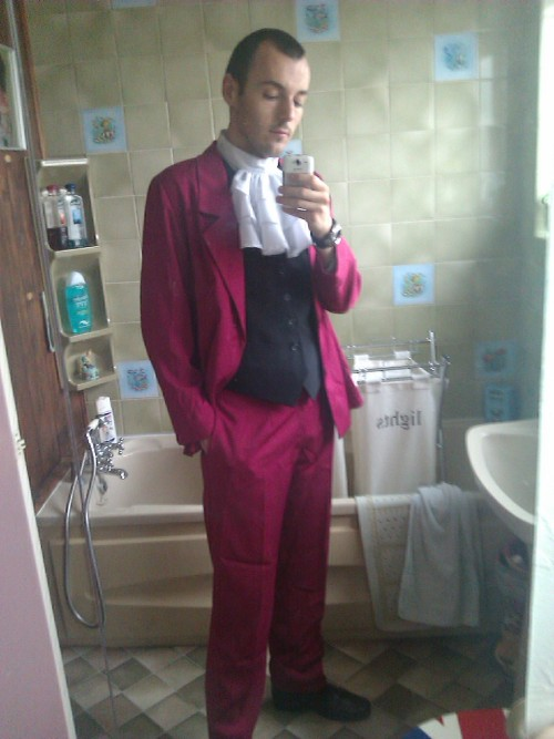 Miles Edgeworth costume finally fully sorted! (after ironing of course) Now for the wig. I officially have a weekend to find someone that can shorten the wig I have in an effort to make it look a bit like Edgey's 'do, after the person who was originally going to do it suddenly decided she couldn't. UGH.