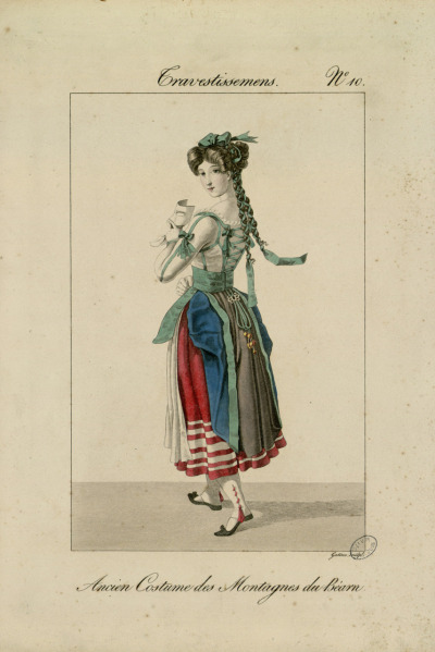 yeoldefashion:  An 1827 fashion plate depicting a fanciful masquerade costume based on the traditional folk costumes of Béarn.