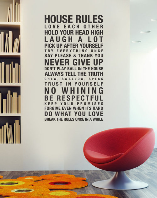 House Rules Vinyl Wall Sticker