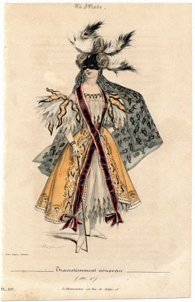 yeoldefashion:  The 1830s saw fancy dress costumes becoming far more fanciful and unrestrained. Women who were modestly covered from head to toe in daily life reveled in creating revealing and controversial costumes, a trend which is still going strong today. This spectacular example is from La Mode magazine, 1831.