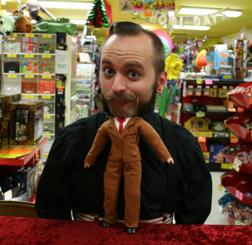 Dan'l's World's Smallest Man costume at the Archie McPhee store. The week before Halloween, Archie McPhee staff have to wear a different costume every day. Click the picture to see other costumes! [via archiemcphee]