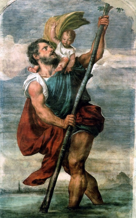 "bythegods:  Saint Christopher  Alright, friends: hearken to the tale of Saint Christopher, the patron saint of the traveler! As it happens, I'm heading out on a trip to the UK and France for a few weeks as of tomorrow, and I hereby invoke the power of all mythic figures associated with brave pilgrims such as myself.  Back to Christopher. Born in Canaan (according to Western accounts) in the 3rd century CE, Christopher was a mammoth of a man. Almost 7 feet tall and built like a tank, Christopher served the Caananite King as #1 hired muscle. After seeing the king in a few moments of weakness, Christopher decided that only the greatest king there was was worthy of his services, so he decided to bounce out of Canaan. He found a king who called himself the greatest (unnamed in the story), but this king kept crossing himself out of fear of the Devil.  ""Now hold on a second,"" Christopher thought aloud, ""if you're afraid of the Devil, that means he's greater than you! I'm gonna go work for that guy!"" And so he set out to give Satan his resume. Eventually Christopher stumbled upon some bandits, and their leader referred to himself as ""the Devil."" Not being one worried about checking sources, Christopher took this boast at face value, and took up employment with desert-bandit-satan. The problem with this boss, as it turned out for Christopher, was the he was constantly avoiding any wayside crosses. Since the devil was evidently afraid of Christ, Christopher made the decision to serve the good ol' King of Kings, Christ himself.  Now, Jesus having died some centuries before, Christopher asked a hermit-priest how he could best serve his Lord. The priest suggested prayer and fasting, which Christopher thought was a lame suggestion and refused to do. Taking note of his immense size and rippling muscles, the priest told Christopher to help the puny people in the area to cross a particularly deep river by carrying them across. For a while Christopher worked as the ferryman-hulk, and then a little child asked him for passage across the river. As soon as the kid clambered up on his back, Christopher almost buckled under his deceptively crushing mass. Staggering to stand with the child on his back, Christopher slowly grunted to the river, and made his way across the water, his muscles screaming the whole way. As the infinitely heavy child dismounted, Christopher said ""You almost killed me with your girth, kid. Not cool."" The child replied ""You had on your shoulders not only the whole world but Him who made it. I am Christ your king, whom you are serving by this work."" The magic baby then disappeared in a flash, and Christopher was left with the greatest bar story to tell his friends in the history of the universe. A little later, a king ordered him to be killed for not shutting up about it. Bad luck for river-hulk."