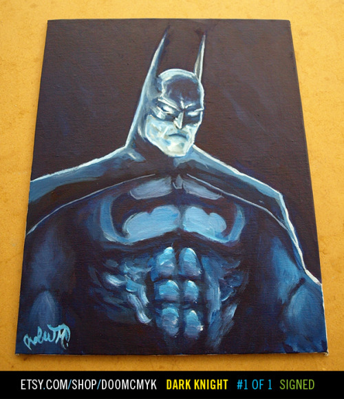 Dope new piece by doomsdaily:  Dark Knight Batman fan art painting1 of 1, Signed and DatedAcrylic paint on 9.5 inches x 12 inches canvas board http://www.etsy.com/shop/doomcmyk