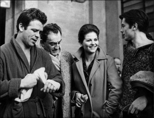 alaindelon:  On the set of Rocco e i suoi fratelli; with Claudia Cardinale and Renato Salvatori.