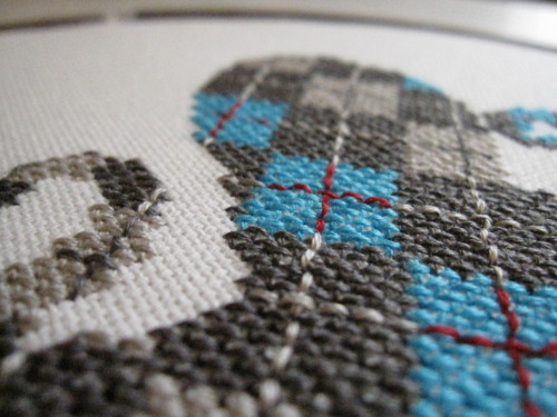 Here's a little sneak peak of my latest stitched piece for my Power Animals series, the Argyle Octopus.  Finally got him hooped up!  Won't get around to take real pics until later today or tomorrow, but wanted to show a little teaser!