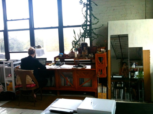 A picture of young designer, ERIN BARR, in her beautiful, Brooklyn studio. I just started working with her and all I can say is that she is amazing, talented, and inspiring! I've never been so excited to work with someone as great as her.  Especially working in this ruthless Fashion World, she is an outlier about to do great things. The 'cut-throat' environment that the Fashion Industry notoriously reaks of is, for the most part, true and forces for unhealthy lifestyles and conditions. Believe me, I've seen it and whatever, I've paid my dues. But 'Cut-Throat' could be done in another light and l'm glad to hear about new up-and-coming companies take it in a positive route. They're companies that stem from kindness, compassion, and of course, being undeniably DOPE (don't fake it till you make it). A workplace that thrives off this is a natural stimulant for employees to give their best work, thus gaining top results for the company. (Maslow's Theory of Motivation is a great source for this) Erin, whether she knows it or not, is changing it. I've never thought I'd be THIS willing to push myself all because of kindness and mold to her specific aesthetic and process. People who show kindness and compassion will certainly get kindness and compassion in return… as well as the best WORK from their team. I will grind to the best of my abilities because I genuinely want to help someone like her out.  I wish all success and happiness for her.