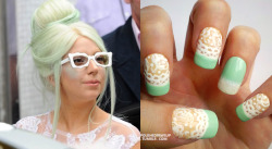"Mint Blonde: Gaga wore this earlier this month, debuting her new ""mint blonde"" hair on her way to a taping of the Friday Night with Jonathan Ross show.  I loved this look and knew I had to turn it into a manicure ASAP! Colors & Materials Used: Surely Ivory (Sally Hansen No Chip) base, with white free-hand lace and Mint Sorbet (Sally Hansen Xtreme Wear) tips.  Ring finger is Mint Sorbet with a white sponged-on tip, with Lighten Up (L'Oreal Jet-Set) pearly sheen topcoat. My nails from Gaga's previous Jonathan Ross appearance can be seen here! ox PPU"