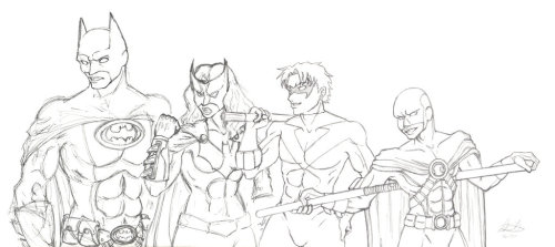 Bat Family :WiP: by =Sakurafire Work in Progress of my Bat Family picture. Each picture is drawn  separately and will be combined into a long poster.My proposed lineup: Batman, Batwoman, Nightwing, Red Robin, Batgirl (Steph), Black Bat, Oracle, Robin (Damien)Considered:  Huntress (non belly-shirt version) and Jason Todd (red mask, leather  jacket). I also considered Alfred and Commissioner Gordon, but I wanted  to keep it costumes-only.Let me know if you have any suggestions!
