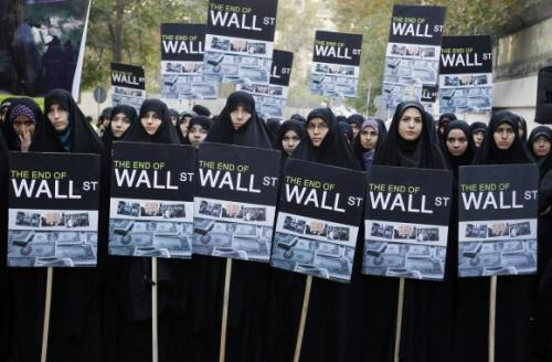 thenoobyorker:  Tehran, Iran - Iranian women gather in front of the Swiss Embassy in Tehran to show their support of anti-Wall Street demonstrators in the United States on October 22, 2011. UPI.Maryam Rahmanian [source]
