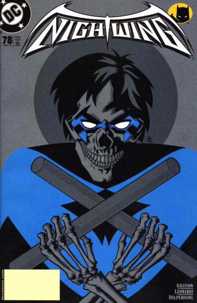 [Nightwing Vol 2 #78] It's cool that he managed to graft his mask onto his skull like that. Also that a skeleton can have such perfectly lush hair! Also that the uniform isn't sagging without all the skin and muscle crap getting in the way. It's as filled as ever! I actually really like the cartoon-y style here and the sort of reverse halo. Neat!