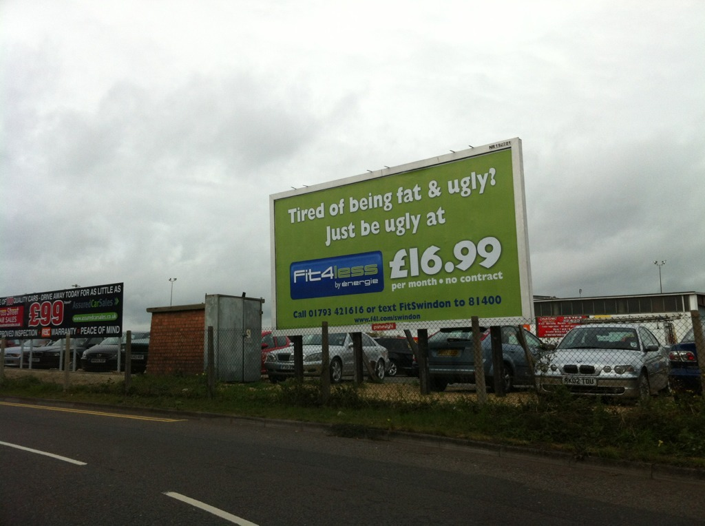 thedailywhat:  Blunt Billboard of the Day: Spotted in Swindon. Thanks, but the cosmetic surgery clinic down the way has a billboard offering to take care of both. [reddit.]  Hahahahaha. Omygad. This is funny. :D