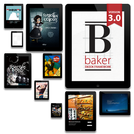 decodering:  Baker  Baker is a HTML5 ebook framework to publish interactive books & magazines on iPad & iPhone using simply open web standards.  See also: Laker  You got a book you want to make available as a web/native app? Enjoy.