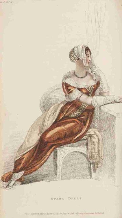 Ackermann's Repository, Ball Dress, July 1809.  Dark orange and white lace!  What a combination!