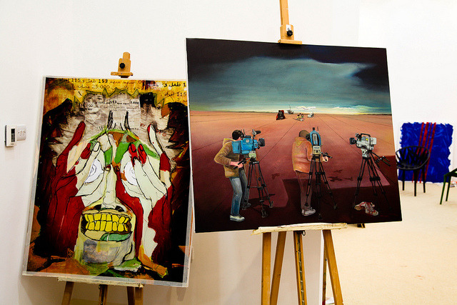 The Al Jazeera Story on Flickr.Paintings created by international artists to commemorate the 15th anniversary of Al Jazeera. The works are on display beside DTFF's Harer Harer exhibit in the newly inaugurated Katara Art Center.