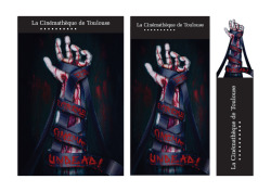 "Cinémathèque de Toulouse's festival: ""Extrême Cinéma : Undead!""Festival of horror zombie-style movies.  poster, program and page holder."