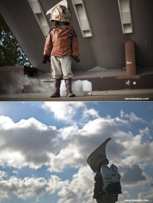 I still LOVE the Rocketeer! This kid has got style. More Halloween costumes should have such dedication. It is afterall, the best time to show off your creativity & handiness compared to every other Holiday we've created (unless you make handmade gifts of course.) -Cory U kateordie:  adambarrett:  thedailywhat:  Cosplaying Kid of the Day: Proving that being the best dad ever wasn't a one time deal, photographer Jim D. Griffioen — who you may remember from dressing his son up in a homemade RoboCop costume last year — returns with a 20th anniversary homage to one of his son's favorite movies: The Rocketeer. Over on his blog, Griffioen describes how he pieced the costume together for pennies using a bike helmet, a cheap Iron Man mask, a couple of thrift-store jackets, a couple of Pepsi bottles, a few found items, a lots of elbow grease.  [sweetjuniper.]  Oh. My. God.  So if we ever have kids… Just saying