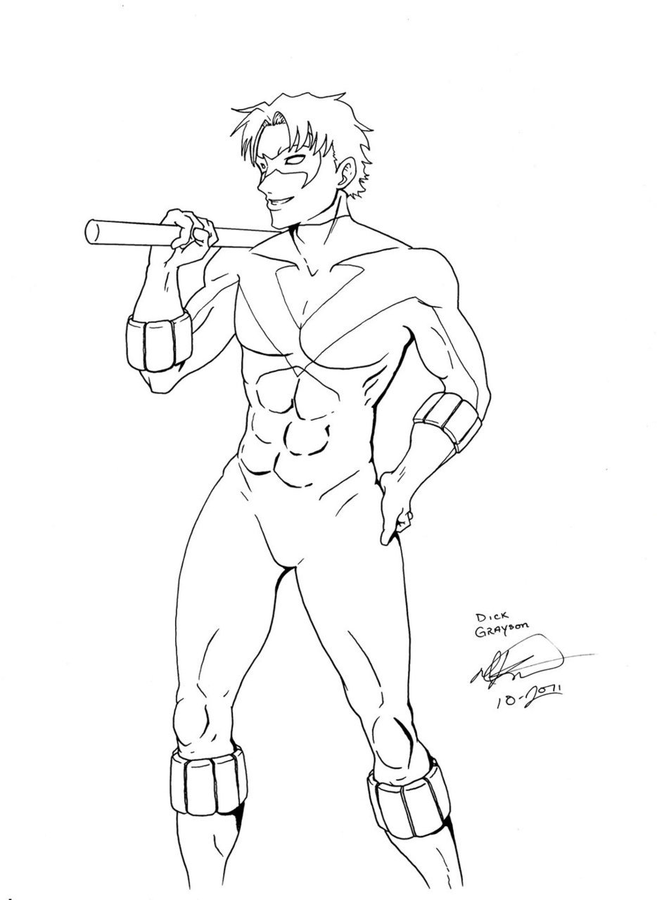 Nightwing :ink: by =Sakurafire Second inked picture of the evening.  This one doesn't have as much detail as the other. Working on anatomy and poses… *sigh* 20 minutes, pen and ink, comic board