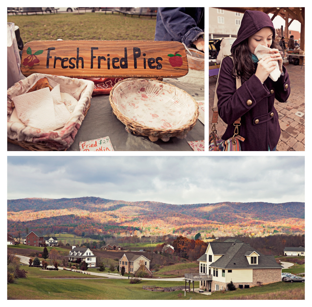 Blacksburg Collage on Flickr. Virginia Tech | Blacksburg, VA | October 29, 2011  For Halloween weekend, I decided to visit an old high school friend at Virginia Tech. Despite a miserable drive through rain and sleet on Friday night, the weather was actually pretty nice on Saturday and we managed to see the mountain ranges and even stop by a farmer's market in downtown Blacksburg. Be on the look out for more photos from around Blacksburg and the Virginia Tech campus in the near future!Top Left Photo: A sign advertising delicious made-to-order fried pies. Holly and I both ended up purchasing pies with apple filling. Top Right Photo: Holly enjoying her fresh fried pie. Bottom Photo: A view of the Blue Ridge Mountains from Prices Fork Road between Blacksburg and Christiansburg.   Check me out on my other sites: BrandonHambright.com // Facebook // Twitter // Youtube // Flickr