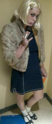 me as margot tenenbaum…slightly zombified in honor of the zombie party i attended tonight.