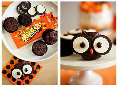Oreo Owls Cupcakes  http://sixinthesuburbsblog.blogspot.com/search/label/cupcake%20owls