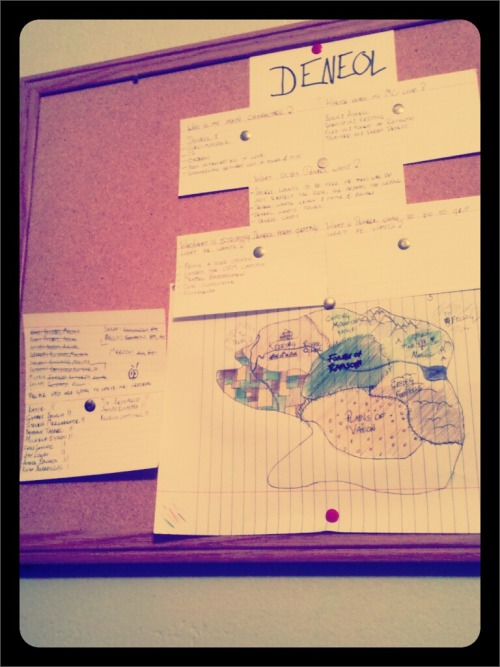 A glimpse of a small part of my planning =) Includes: character notes about Deneol, important plot points, incomplete first draft of part of my world's map.