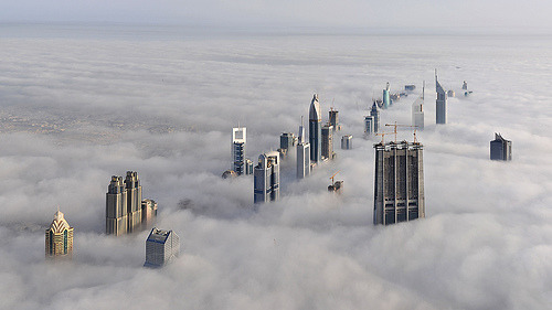 washingtonpoststyle:  theworldwelivein:  Foggy Dubai, AE | Taken from the Burj Dubay Tower© daveandmairi  We keep wanting Aslan and Voldemort to appear from the mist.