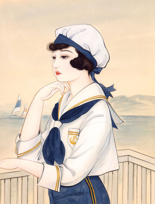 Japanese Art: Sailor Girl. Kisho Tsukuda. 1998