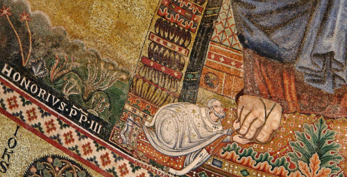 mediumaevum:  Portrait of Honorius III - Detail of the apse mosaic of the Basilica of Saint Paul Outside the Walls (1220) - Roma - Italy Pope Honorius III ordered the mosaic and, following the Roman Catholic tradition, is represented near Christ's feet. Pope Honorius III (1148 – 1227), born Cencio Savelli, was Pope from 1216 to 1227. Complete mosaic