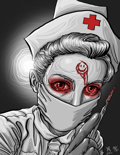 30 of 31 Halloween inspired sketches. Psycho Nurse