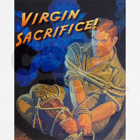 Virgin sacrifice, as a trope, is pretty closely related to defloration (usually with the same poses and symbolic drama).  Which makes this image a bit of an anomaly, since we have a guy.  He's thinking, the abstinence-until-marraige people never told me about this part.
