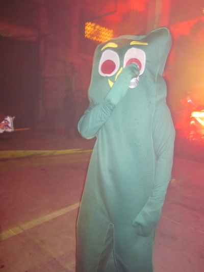 snaakks:  Last night my friend went out as Gumby and drank beer through his eye the whole time.