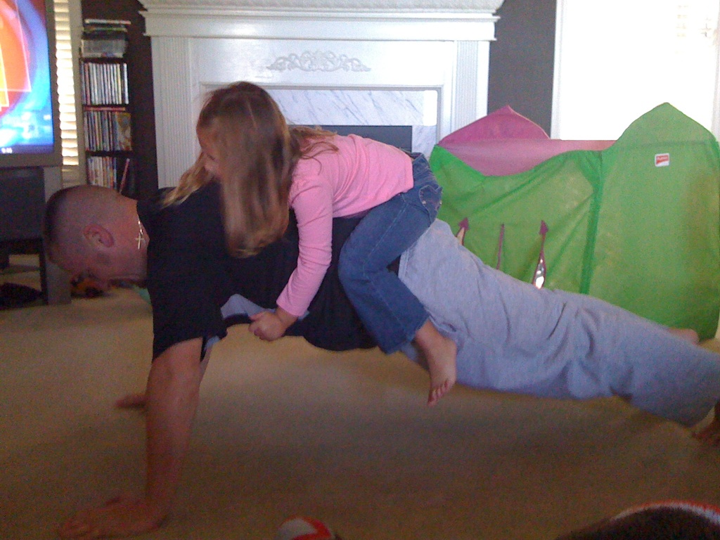 Not the post-run stretch I had in mind: child weighted planks!
