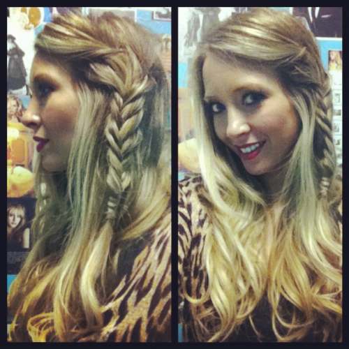 Day 16/21: Side Fishtail  Today I have the privilege of styling hair for Maude Boutique's photoshoot with some of the top bloggers in our area: Ashes of Laughter, Blonde Ambition, Smith and Emma, NWA Motherload, and Tulip Louise!!! I'll post pics later :). I did manage to sneak my own style in there too..   Today I threw in some Moroccan Oil and loose waves to start. Then pinned back my long bangs with a bobby pin. From there, I took 2 large pieces of hair and fishtail braided then along the side. As always, I hid the elastic with my own hair and finished with my favorite hairspray, Davines No 7 Crystal Fixative Lacquer For Wizards.