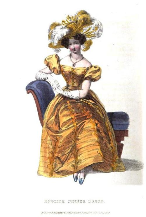 damesalamode:  Ackermann's Repository, Dinner Dress, June 1829.  I love the bodice of this gown!   Just gonna reblog this before moving on to mens 1830's-40's and 1870's-1901