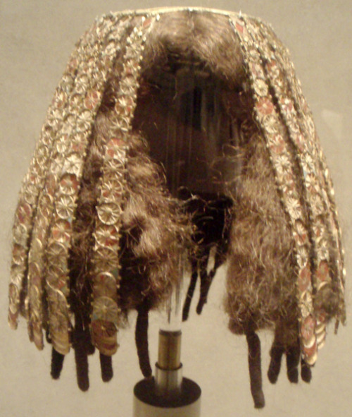 Reassembled headdress worn by a minor wife of Thutmose III, ca 1479-1425 BC Egypt, the Met Museum I'm not sure if the hair is original
